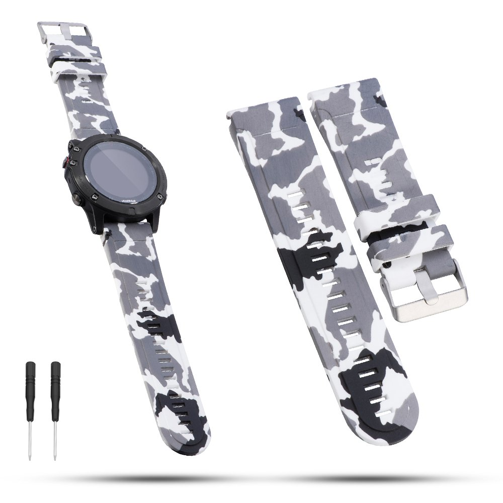 Garmin Fenix 5マルチスポーツGPS腕時計バンド – feskio 22 mm幅ソフトシリコンクイックインストールリストバンド腕時計ストラップブレスレットfor Garmin Forerunner 935 / Fenix 5 /アプローチs60 / Quatix 5 / Quatix 5サファイア  迷彩 B074V7P3DJ