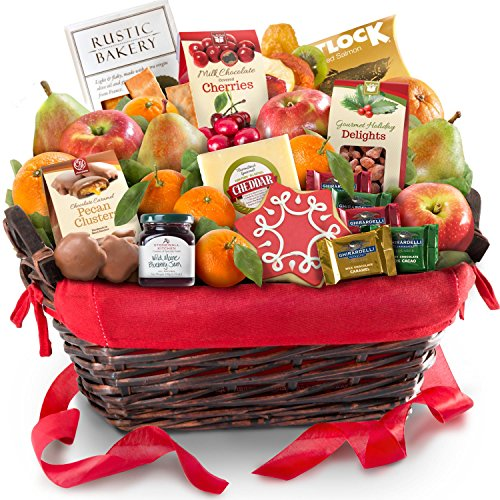 Golden State Fruit Holiday Tidings Deluxe Gourmet Gift Basket (Chocolate And Cheese Gift Basket)