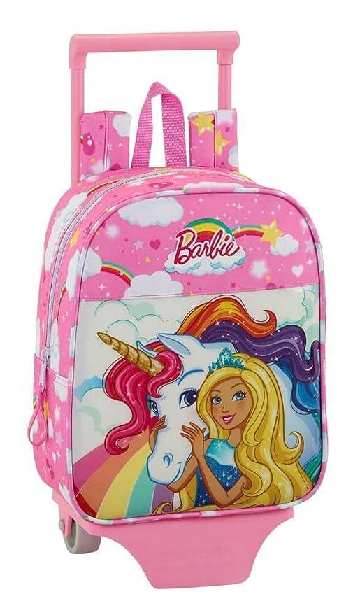 Barbie 2018 Mochila infantil, con carro, 28 cm, 6 litros, Rosa claro
