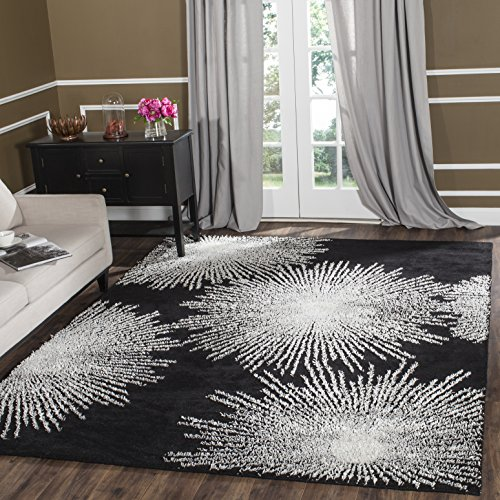 Safavieh Soho Collection SOH712D Handmade Fireworks Black and White Premium Wool Area Rug (6' x - White Transitional Rug Area