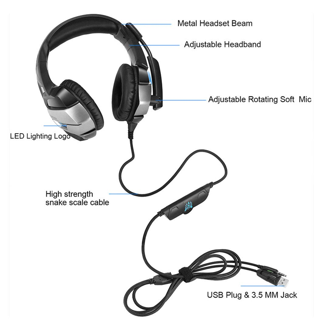 HUAN PC Gaming Headset for PS4 Xbox One, 3.5mm Stereo USB LED Headphones with Omnidirectional Microphone, Volume Control for Computer Laptop Mac Playstation 4 by HUAN (Image #5)