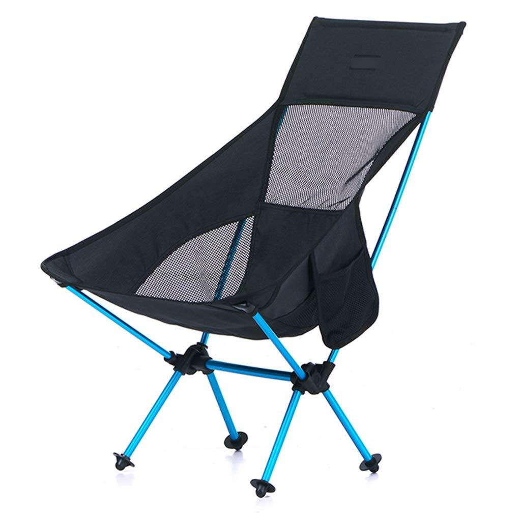 YaNanHome Klappstuhl im Freien tragbar mit kampierender Strandstuhl des Rückenfischereistuhls beiläufiger Skizzenmondstuhl (Farbe   schwarz) schwarz
