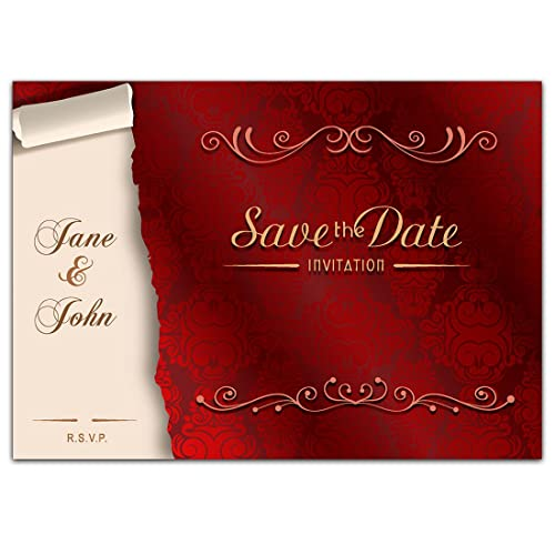 amazon com elegant brocade red save the date card wedding