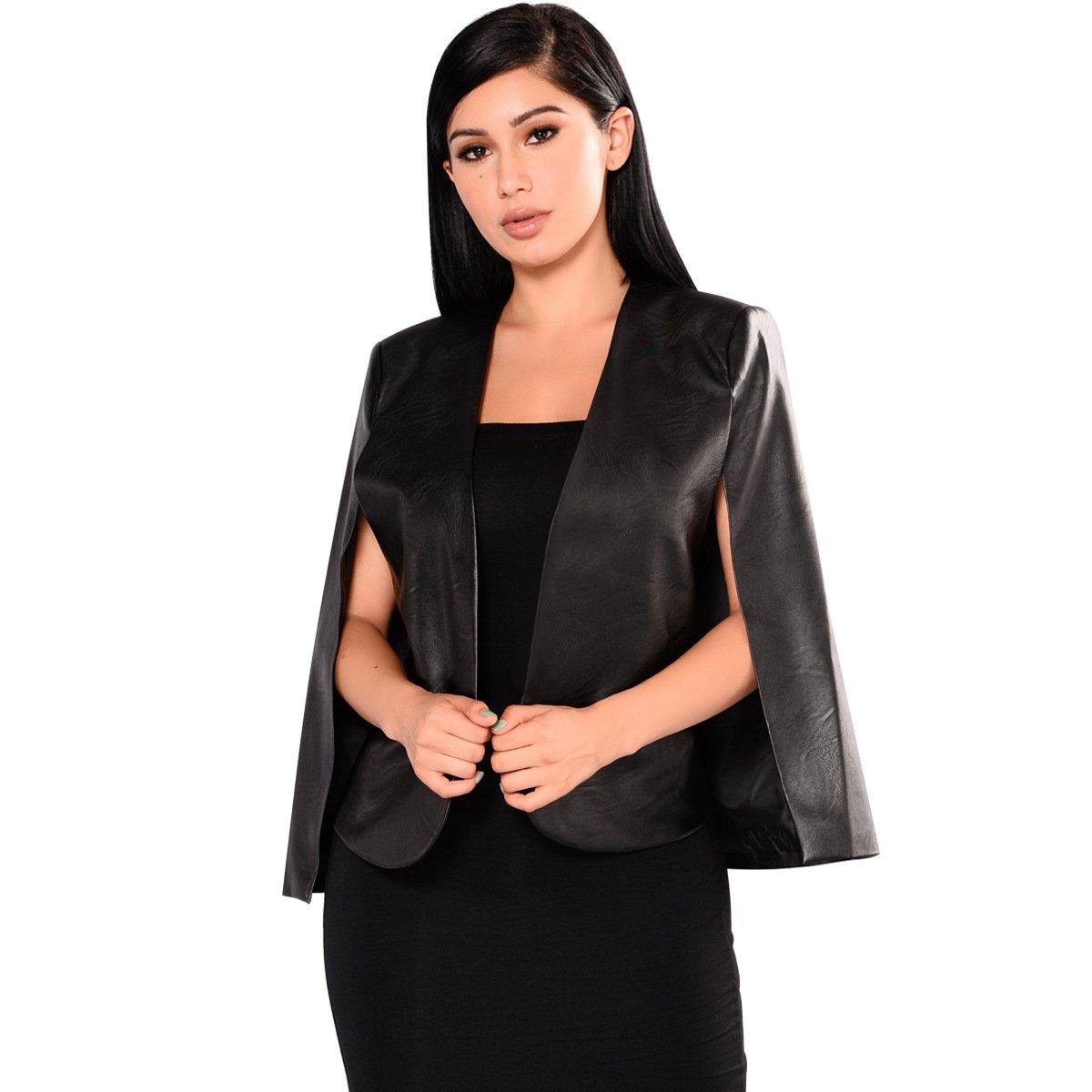 PrettySoul Women's Casual Cape Blazer Shawl Collar Split Sleeve African Dashiki Floral Print Cloak Blazer Jacket Coat Black, Large