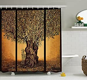 Ambesonne Tree Of Life Decor Shower Curtain Set Triptych Of An Old Mature Olive