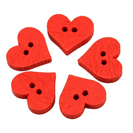 Amazon com: JETEHO 100PCS Red Heart Shaped Wooden Buttons 2