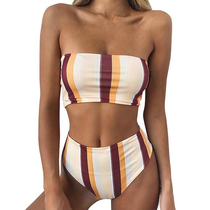 Traje De Playa Bikini Push Up Bra Sujetador Mujer Elástico Tankini Correa de Hombro Hombro desnudo