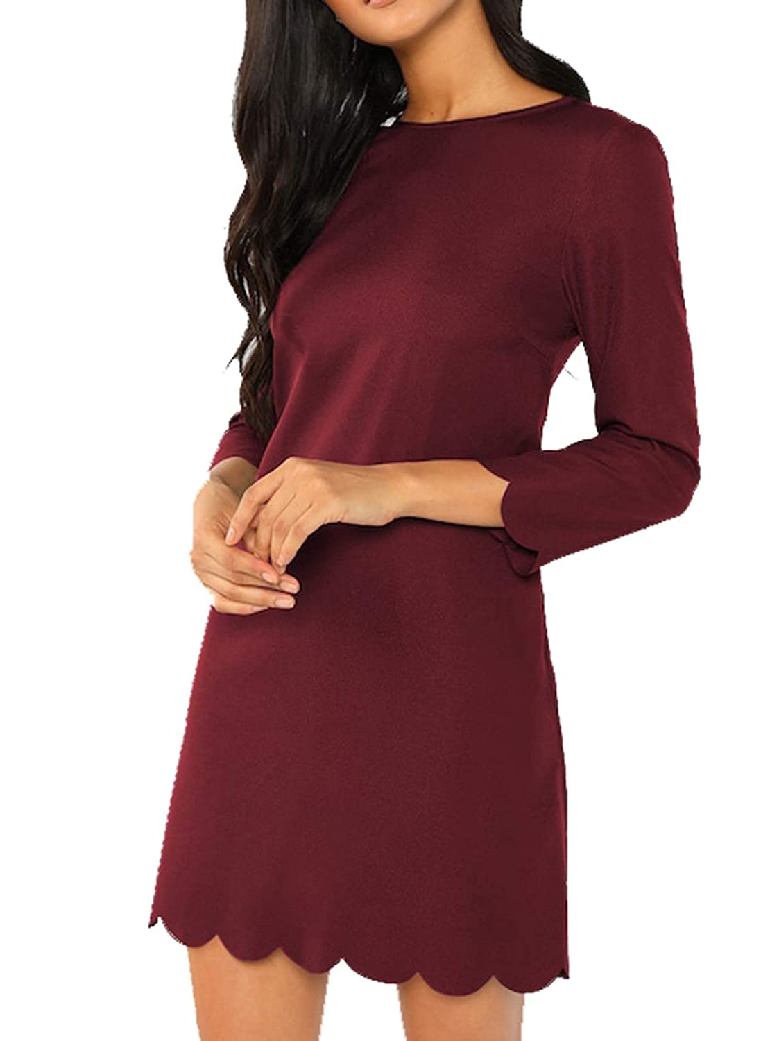 Burgundy Milumia Women's Casual 3 4 Sleeves Round Neck Solid Scallop Tunic Dress