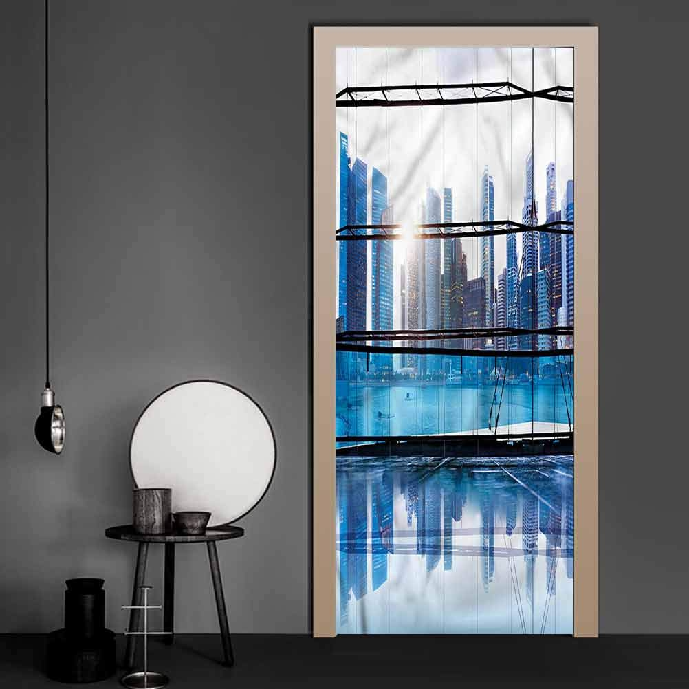 3D Wall Sticker Office, View with Skyscrapers Removable Wallpaper Wall Decal Originality Stickers Gift 17.1 x 78.7 Inch