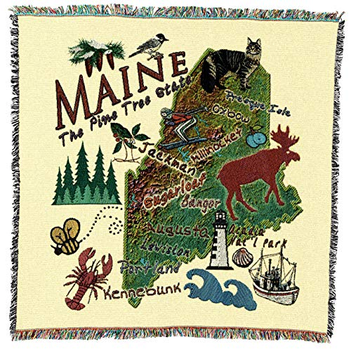 Pure Country Weavers   Maine State Woven Throw Blanket Cotton USA 54x54 (Maine Black Bears Jacquard Throw)