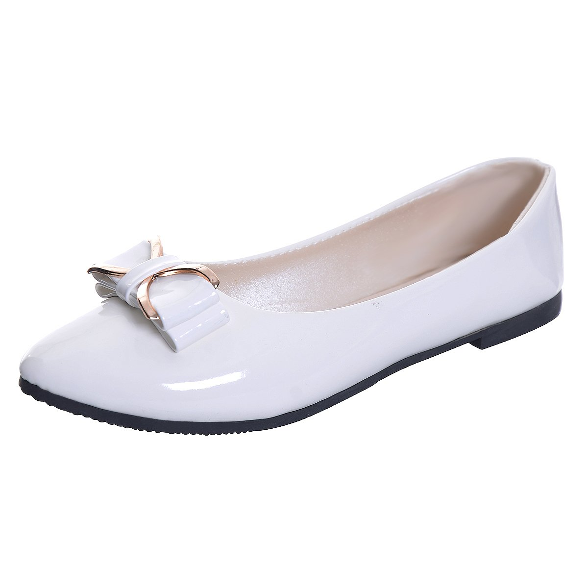 JACKY LUYI Women Pointy Toe Bowknot Slip-on Ballet Flats
