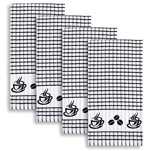 Cackleberry Home Coffee Time Windowpane Check Cotton Terrycloth Kitchen Towels, Set of 4 (Black)