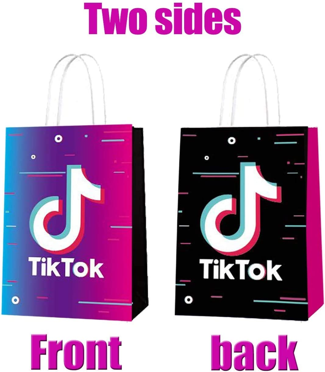 12 PCS Tik Tok Birthday Gift Bags with 50 PCS TikTok Stickers for tk Themed Party Disco Party Favor Goodie Gift Bags Candy Boxes for Kids Tiktok Birthday Party Decorations