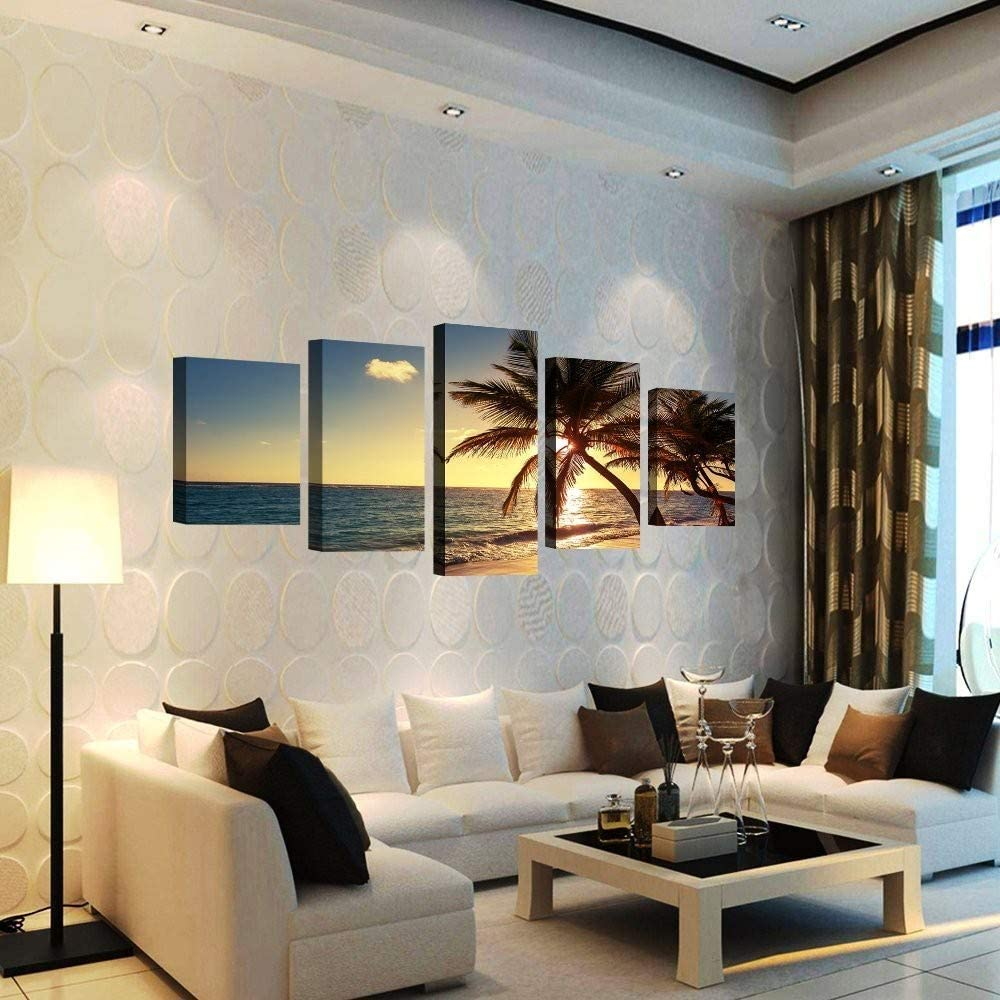 Yyjyxd 5 Pieces Frameless Canvas Photo Prints Sea Sunset Palm Trees Wall Decorations Wall Art Picture Canvas Wall Paintings-16X24//32//40Inch,Without Frame