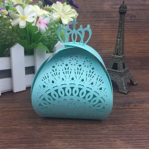 50 Pcs - Crown Laser Cut Chocolate Box Packaging Candy Box Wedding Favors Party Supplies Wedding Decoration Wedding Favor Box (Tiffany Blue)]()