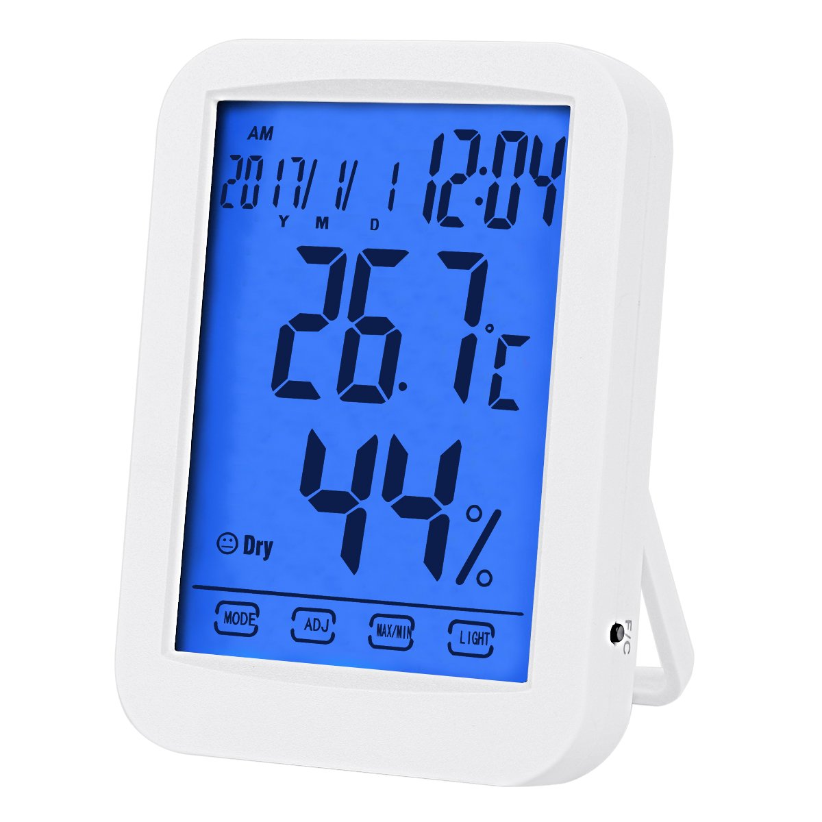 Temperature Hygrometer, Indoor Digital Hygrometer, Multifunctional Temperature Humidity Meter with Blue Backlight, Jumbo Smart Touchscreen with Clock (Not Include Battery) (White) DEXUNWEI