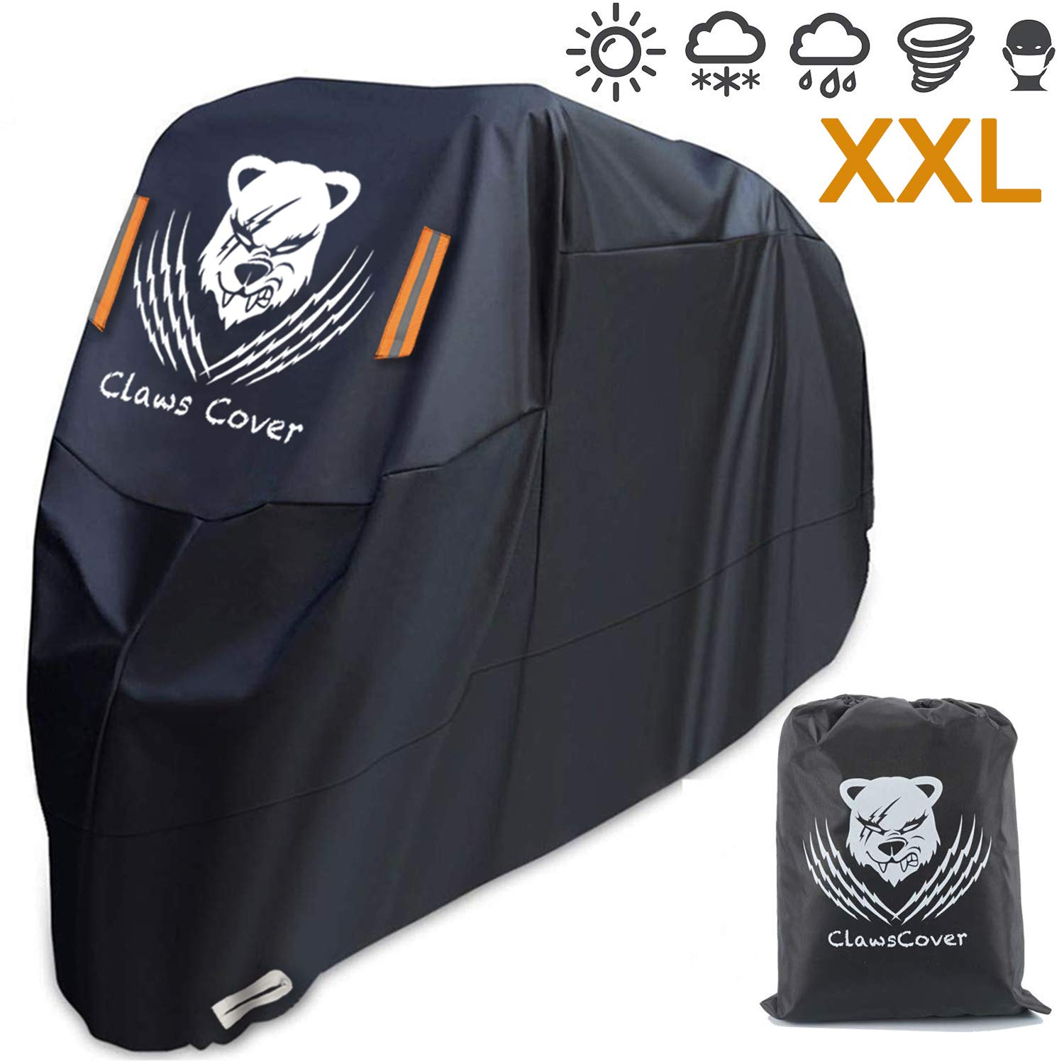2019 Best Motorcycle Covers Waterproof 104 Inches XXL Heavy Duty All Season Outdoor Protection Durable Oxford Touring Cruisers Bike Covers for Harley Kawasaki Suzuki-ClawsCover