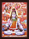 Lord Shiva Doing Meditation in Himlaya with Various Religious Posture, a Poster Painting with Frame for Hindu Religious Worship Purpose