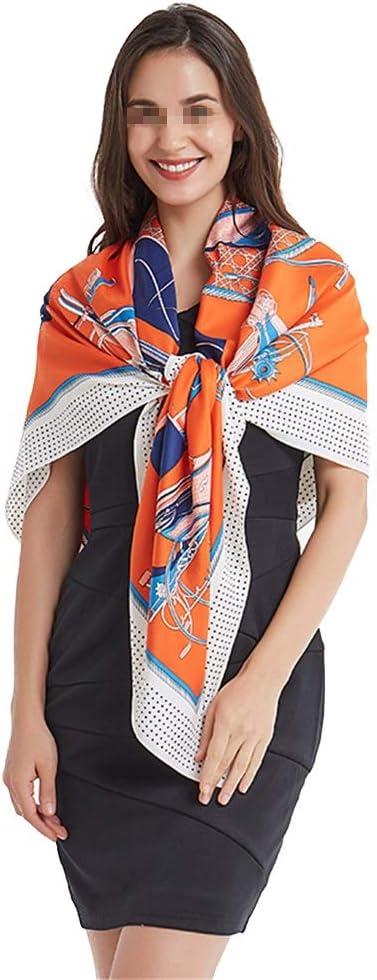 Lwieui Bufanda Bufanda de Mujer con satén Cuadrado de satén Grande for Mujer Sarga de Caballo Naranja Seda for Mujer 130 cm Bufanda Cuadrada para Mujer (Color : Orange, Size : 130 * 130cm)