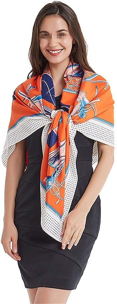 WUZHOUAME Bufanda Caliente Bufandas cuadradas de satén Grandes para Mujer Sentido de Seda Bufanda para el Cabello Naranja Caballo Sarga 130 cm