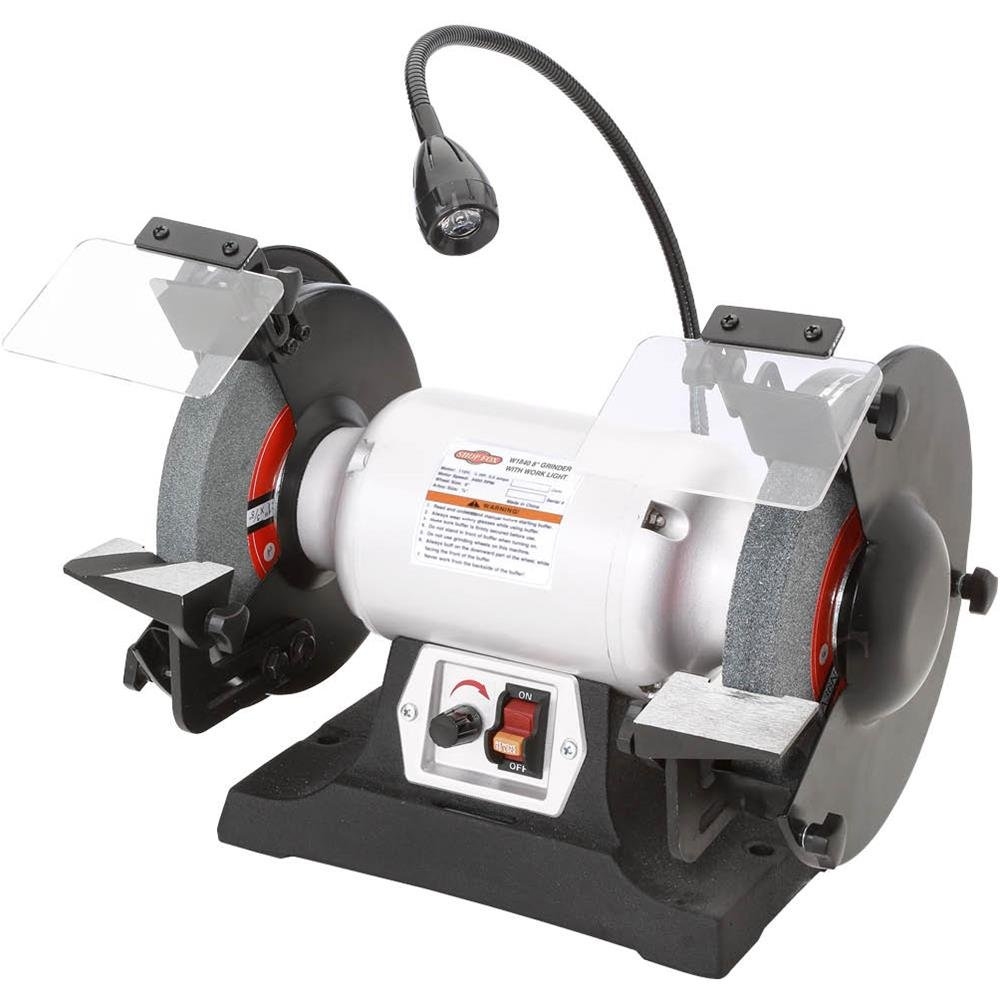 Shop Fox W1840 Variable-Speed Grinder with Work Light, 8'' by Shop Fox