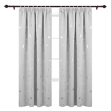 deconovo vorhang kinderzimmer gardinen sterne vorhang blickdicht krauselband gardinen weihnachten 229x117 cm weiss 2er set