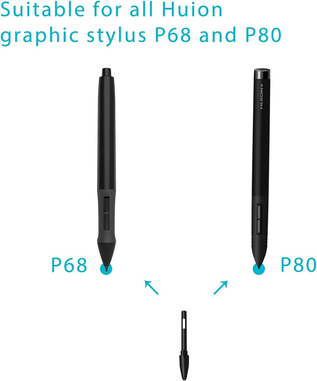HUION Replacement Nibs for Graphic Drawing Tablet Digital Pen Stylus P80//P68 US