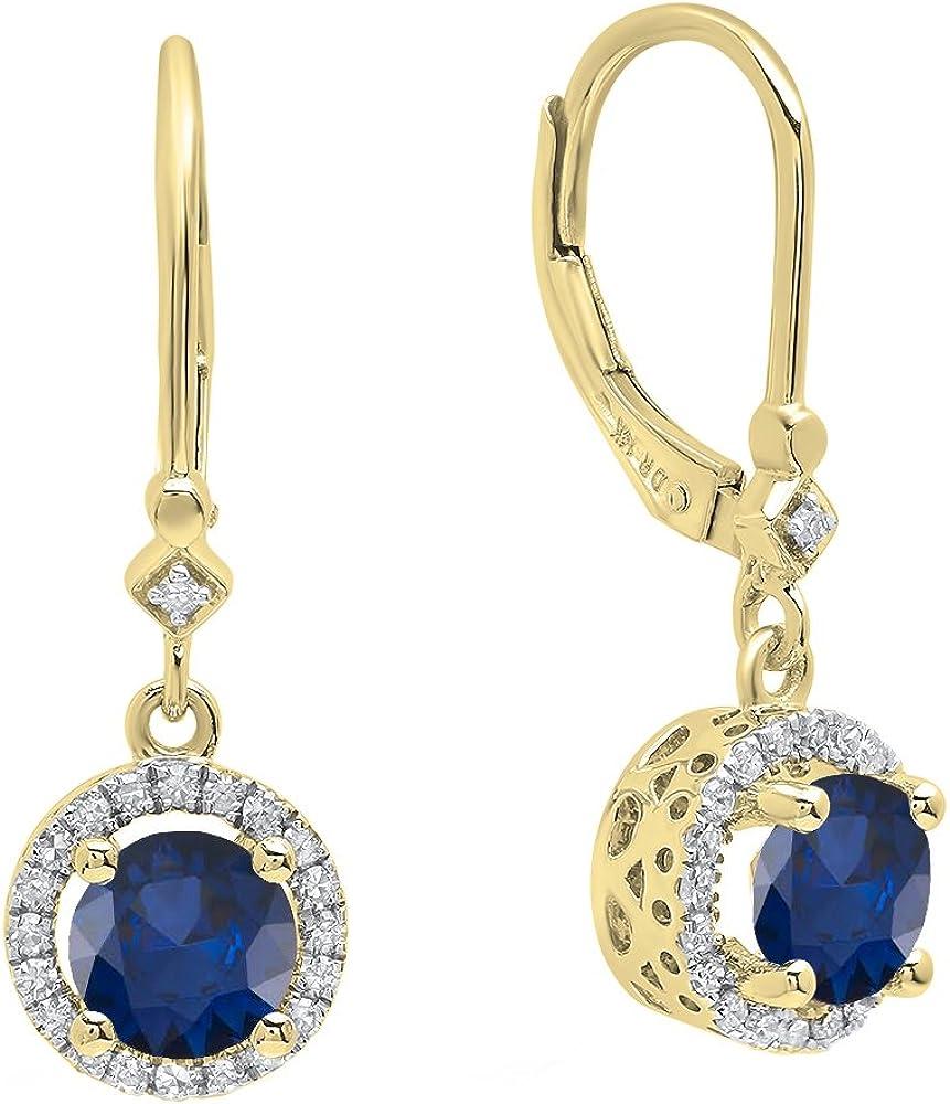 Pendientes colgantes de oro amarillo de 18 quilates, 6,5 mm cada uno con piedras preciosas redondas y diamantes, para mujer