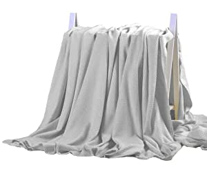 DANGTOP Bamboo Blanket - All Seasons Thin Cooling Blanket for Adults and Teens.(79x91 inches,Light Grey)