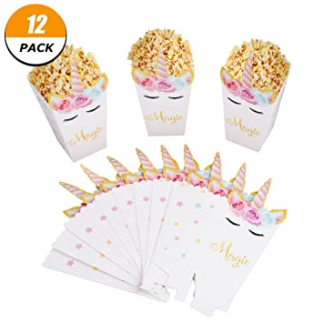 40 Pack Unicorn Popcorn Box Unicorn Theme Party Decoration Set Impressive Decorative Popcorn Boxes