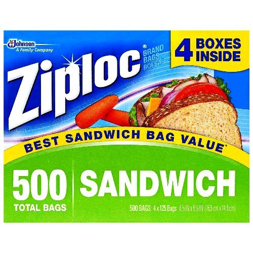 Zip Lock Sandwich Bags - Ziploc Easy Open Tabs Sandwich Bags 125 Count (Pack of 4)