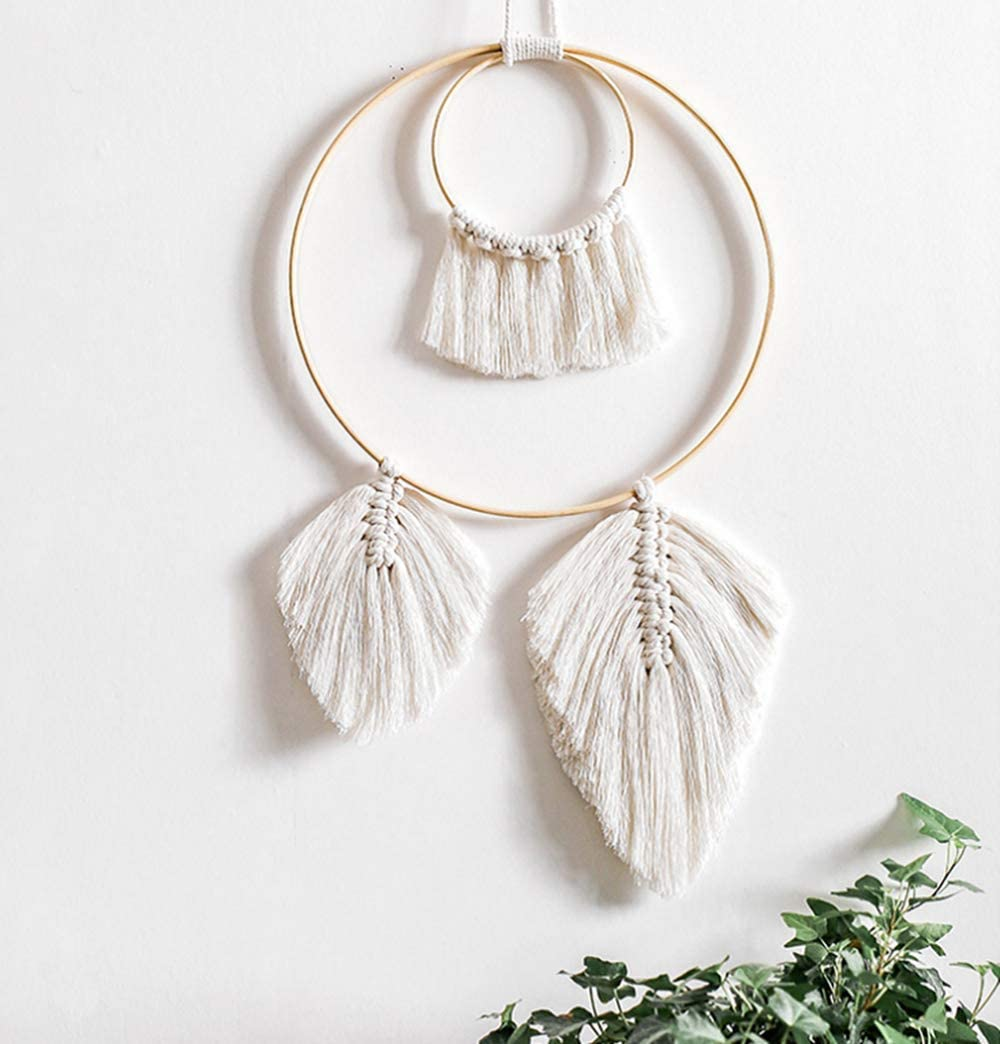 Clife Macrame Wall Hanging Feather Boho Chic Woven Leaf Tassels Decoration Cotton Ornaments - Bohemian Apartment Decorations - Living Room Bedroom Decor (Ivory-2 Leaf)