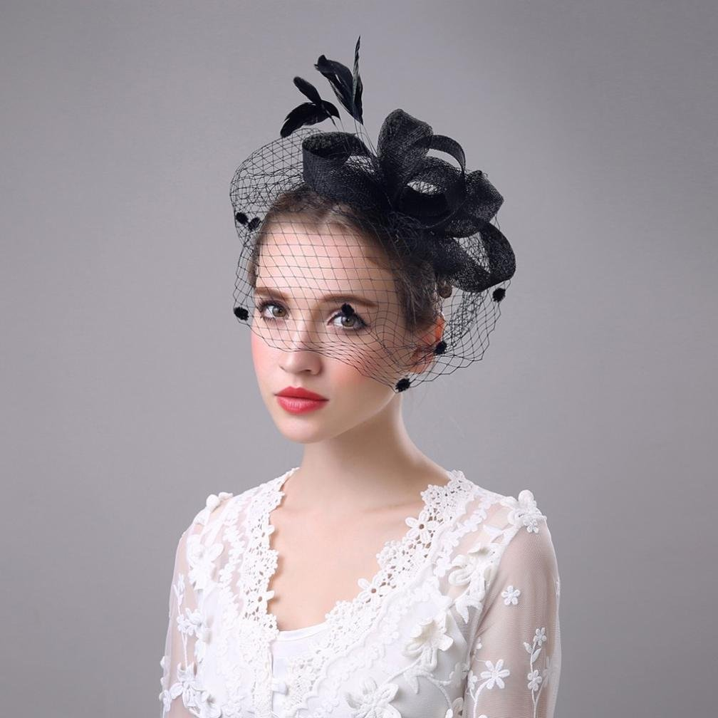 Romantic Hats,Hongxin Feather And Ribbons Flower Fascinator Headwear Wedding Ladies Day Hat With Headband Weddings Evening Party Races Hair Accessory Creative Gift Beige