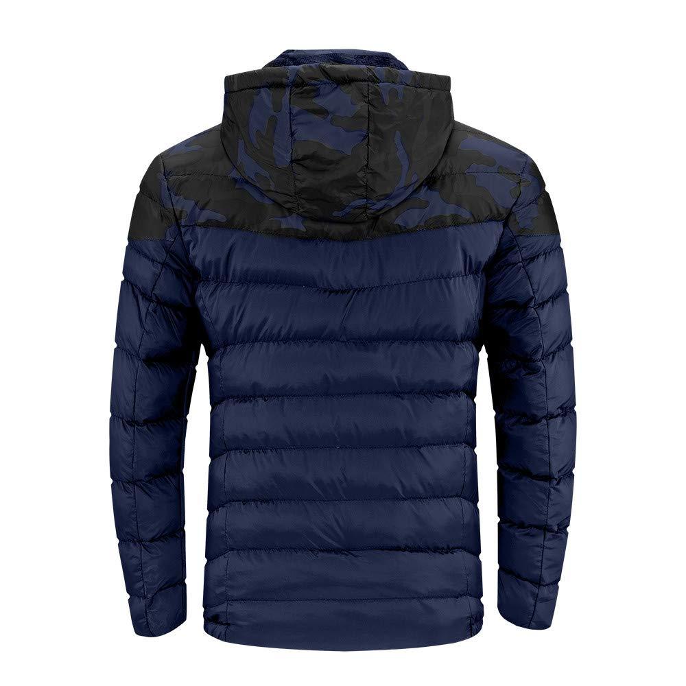 Lmtime Mens Casual Camouflage Hooded Lightweight Jackets Autumn Winter Warm Packwork Zipper Pocket Tops