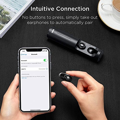 True Wireless Bluetooth Earbuds, ESR in-Ear Wireless Earphones Dynamic Graphene Drivers Portable Charging Case, Bluetooth 4.2 Earbuds iPhone, Samsung Android Phones by ESR (Image #6)