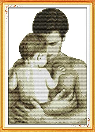 Joy Sunday Cross Stitch Kits 11CT Stamped Father Holding Baby 12.99x17.33 or 33cmx44cm Easy Patterns Embroidery for Girls Crafts DMC Cross-Stitch Supplies Needlework