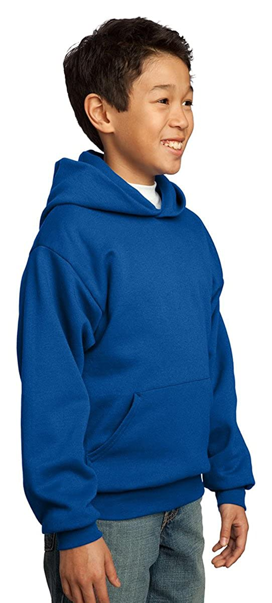 Port /& Company Youth Front Pouch Pocket Pullover Hooded Sweatshirt,X-Small,Orange