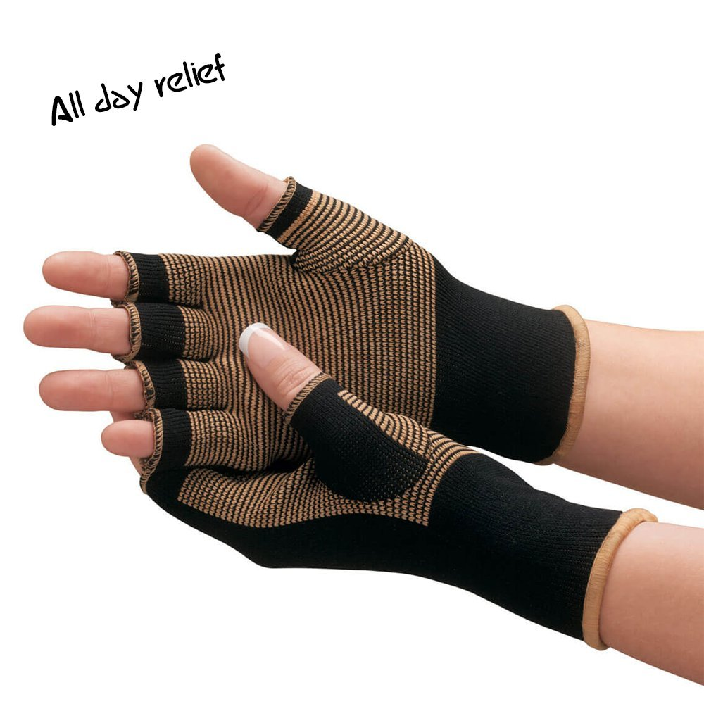 Medical Grade Copper Compression Anti-Fatigue Therapy Active Gloves (2 Pack) - Arthritis Care, Joint Support, RSI , Carpel Tunnel, Pain Relief, Rheumatoid Arthritis