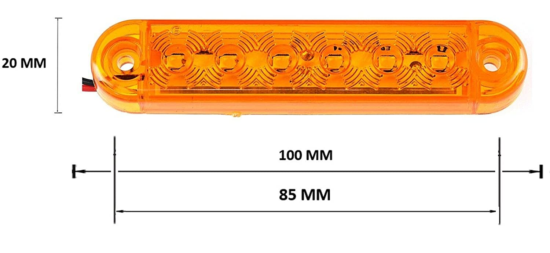 flexzon 8X 12V 24V 6 SMD LED side marker orange lights trailer caravan truck lorry