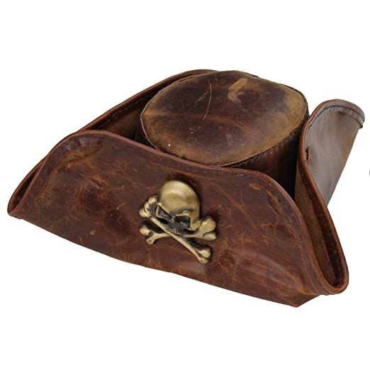 Men's Handmade Real Leather Skull & Crossbones Tricorn Pirate Hat by Armory Replicas