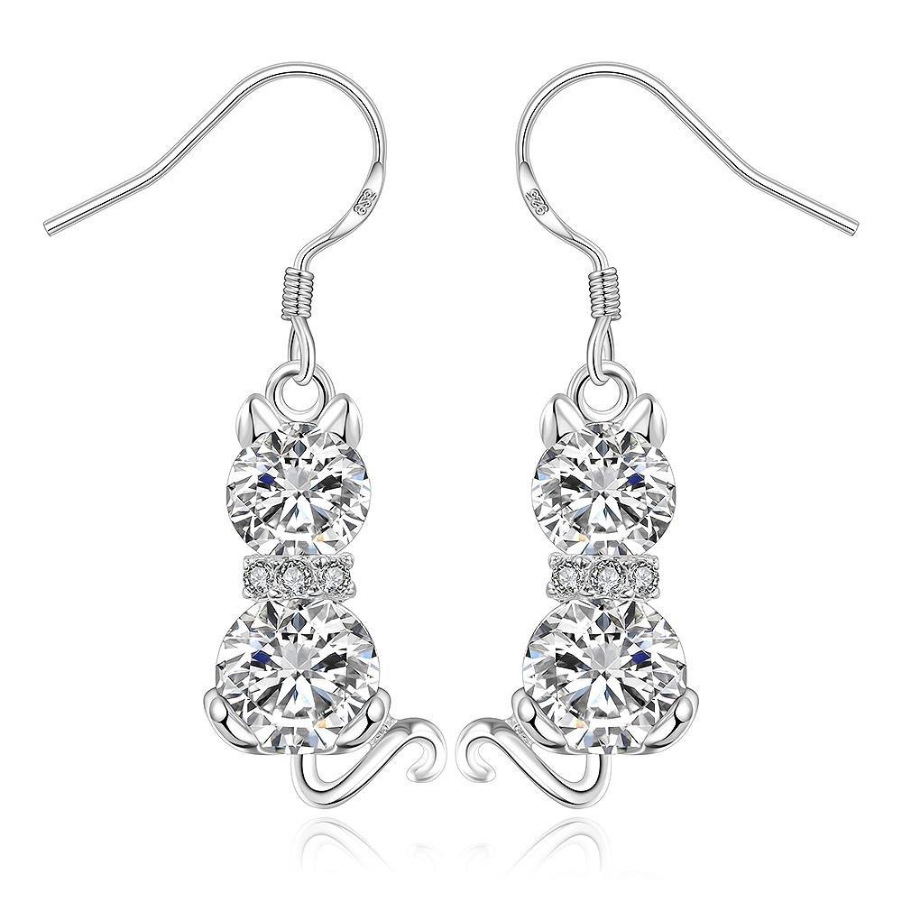 BODYA Sweet Dangle Sitting clear CZ Crystal CAT dangle Earrings Long Drop For Girls Women Jewelry JY0524