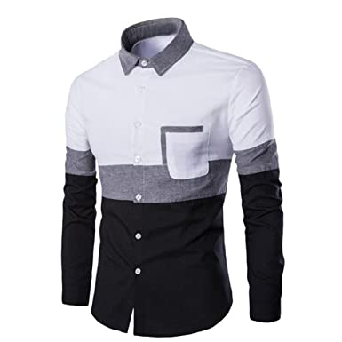 e07bac5ae23 Rrimin Stylish Men Long Sleeve Business Slim Fit Casual Shirts Dress Tops T  Shirt (XX