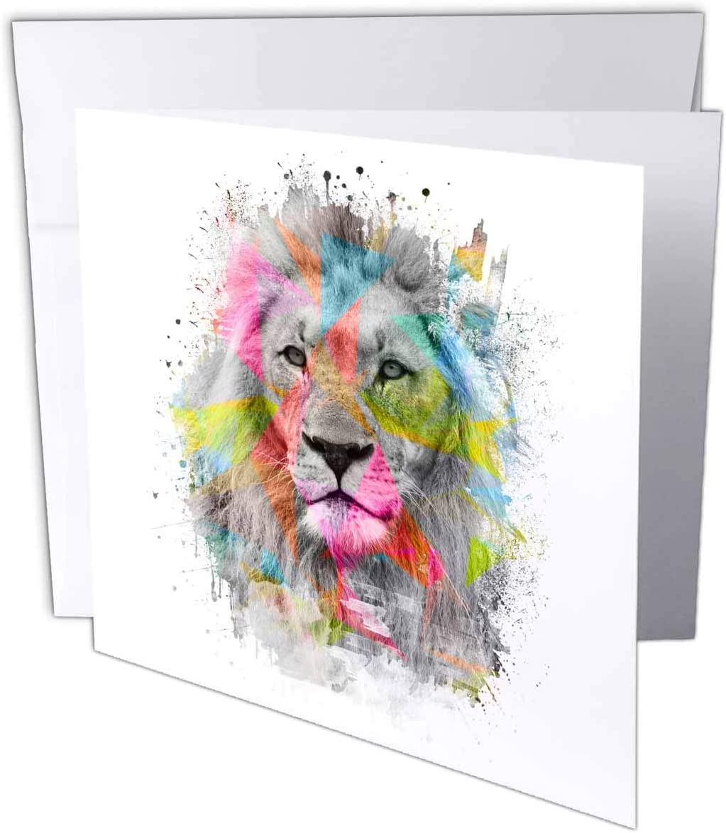 3dRose Majestic Male Lion Portrait with Colored Polygons - Greeting Card, 6