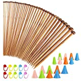 Biging 62 Pieces Knitting Needles Set with Bamboo Knitting Needles (18 Sizes from 2mm to 10mm) and Knitting Needle Point Protectors and Knitting Crotchet Locking Stitch Markers