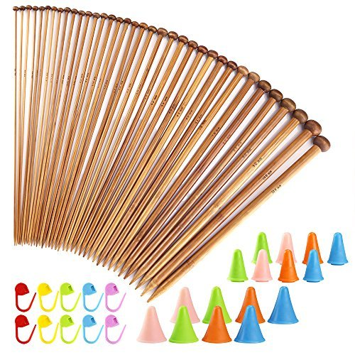 Biging 62 Pieces Knitting Needles Set with Bamboo Knitting Needles (18 Sizes from 2mm to 10mm) and Knitting Needle Point Protectors and Knitting Crotchet Locking Stitch Markers by Biging