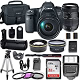 Canon EOS 6D DSLR Camera with Canon EF 24-105mm f/4L IS USM Lens + Tamron 70-300mm Lens + Battery Grip + Wide Angle Lens + 2x Telephoto Lens + 32GB SD Memory Card + Bundle
