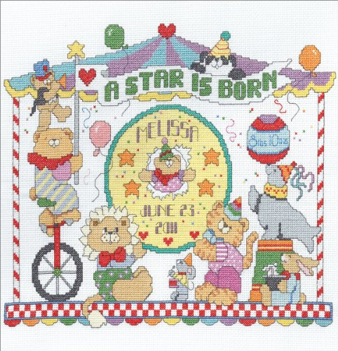 Bucilla Baby Animal Circus Birth Record Counted Cross Stitch Kit, 12-1/2-Inch by 10-Inch