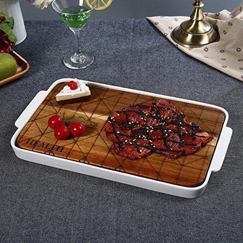 Wood Steak Board Cheese Board Porcelain Serving Platters/Dinner Plate Set12 x 8