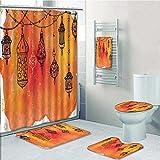 5-piece Bathroom Set- Islamic s Garland Middle Oriental Orange Vermilion Black Prints decorate the bathroom,1-Shower Curtain,3-Mats,1-Bath towel(Large size)