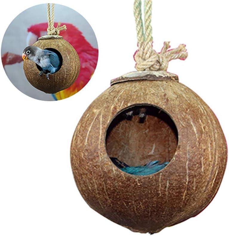 1 Pc Bird jerarquía del Animal doméstico Natural de Coco Casa de pájaros del Parakeet de cría de Aves Nido pajarera Jaula Box (Pulido)